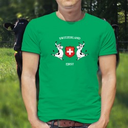 T-shirt coton mode homme - Switzerland First - vache Holstein