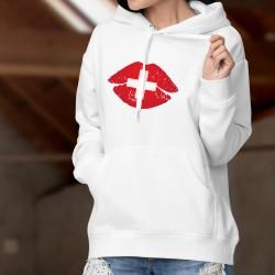 Frauenmode Kapuzenpulli - Schweizer Kuss - saftigen Lippen