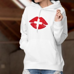 Women's fashion Hoodie - Swiss Kiss - lips