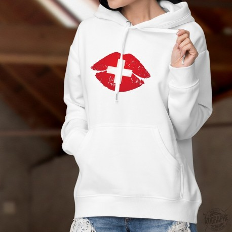 Bisou suisse ❤ lèvres pulpeuses rouge aux couleurs de la Suisse ❤ Pull-over blanc à capuche mode dame