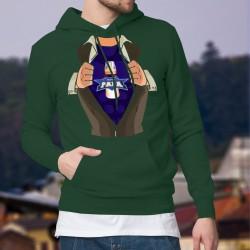 Pull à capuche coton homme - Super Papa - Super Héro, biberon