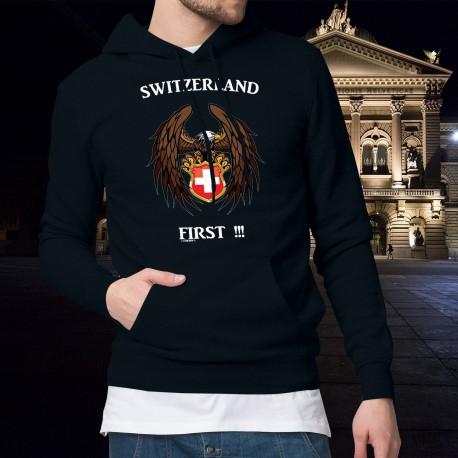 Switzerland First ✚ Die Schweiz zuerst ✚ Herren Baumwolle Kapuzenpullover Adler und Schweizer Wappen
