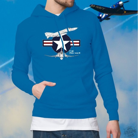 Silhouette de l'avion de combat F-4E Phantom II ★ US Air Force ★ Pull à capuche coton mode homme