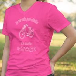 """T-shirt humoristique coton mode Dame - Vintage Solex, vélo très célèbre et """"Je ne suis pas vieille, je suis vintage"""""""