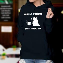 Maglione di cotone con cappuccio - Que la Fondue soit avec Toi