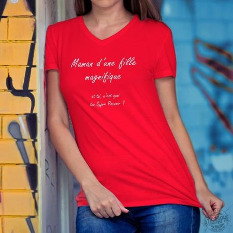 Donna cotone T-Shirt - Maman et fille Super Pouvoir