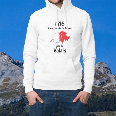 Pull-over blanc à capuche pour homme - Valais 1815 - frontières suisse