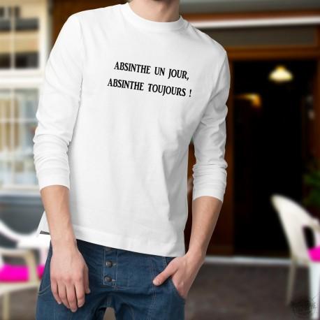Pull humoristique mode homme - Absinthe un jour, Absinthe toujours ! La Fée Verte appelée aussi La Bleue d'origine neuchâteloise