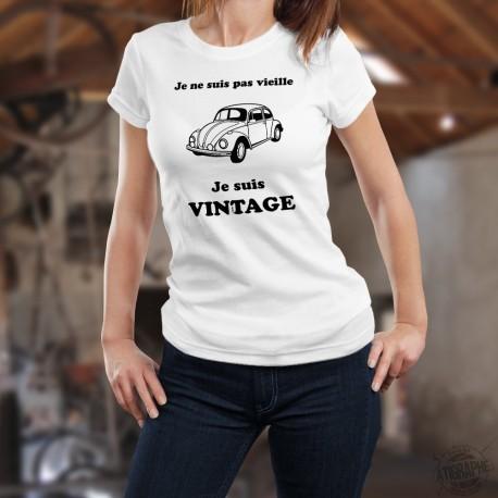 T-Shirt dame humoristique - Je ne suis pas vieille, je suis Vintage - Volkswagen Coccinelle