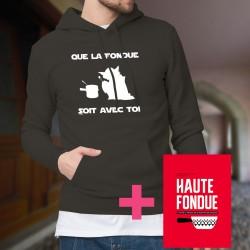 Baumwolle Kapuzenpullover - Que la Fondue soit avec Toi