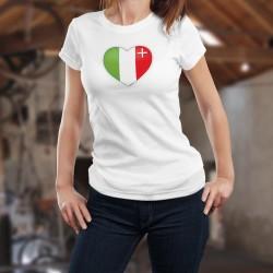 Coeur neuchâtelois ❤ T-Shirt mode dame avec le drapeau du canton de Neuchâtel en forme de ❤ coeur ❤