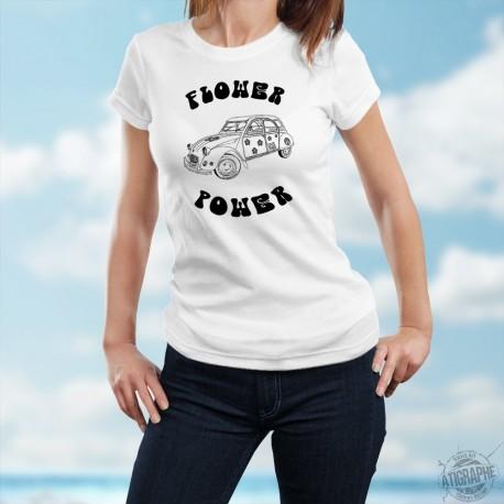 T-Shirt mode dame humoristique - Flower Power Deuche, Citroën 2CV hippie