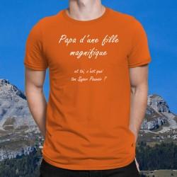 T-Shirt coton mode homme - Papa d'une fille magnifique et toi, c'est quoi ton Super Pouvoir