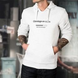 Pull humoristique blanc à capuche mode homme - Glandage en cours - barre téléchargement
