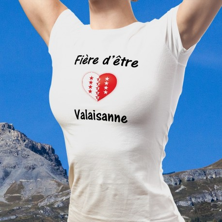 Damenmode Herz T-shirt - Fière d'être Valaisanne