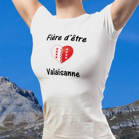 Women's heart style T-Shirt - Fière d'être Valaisanne