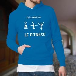 J'ai commencé le Fitness ★ Pull capuche humoristique coton homme avec un Tire-bouchon dans 3 figures de gymnastique différentes