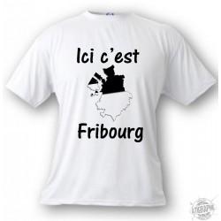 T-Shirt - Ici c'est Fribourg - für Herren oder Frauen, White