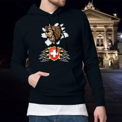 Herren Baumwolle Kapuzenpullover - Bär und Schweizer Wappen