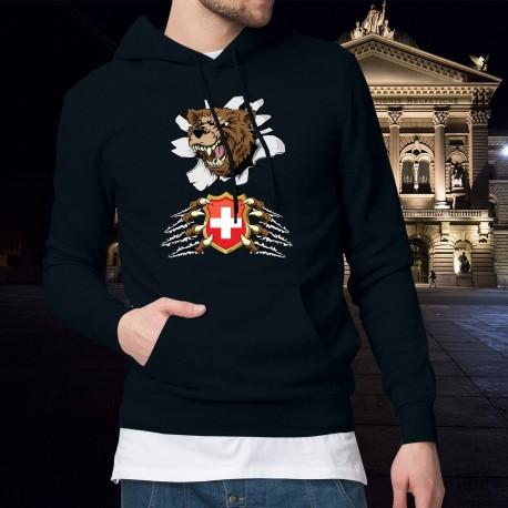 Uomo Maglione di cotone con cappuccio - Orso e stemma svizzero