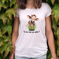 Tu me fais un câlin ? ✿ T-shirt humoristique mode dame avec une petite vachette à corne faisant les yeux doux