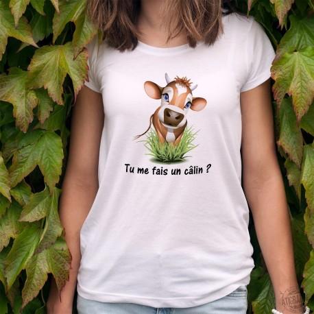 T-shirt mode dame humoristique - Tu me fais un câlin - vache, vachette à corne et aux yeux doux