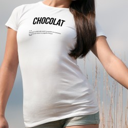 T-shirt humoristique mode dame - CHOCOLAT - Substance médicinale anti-baisses de moral