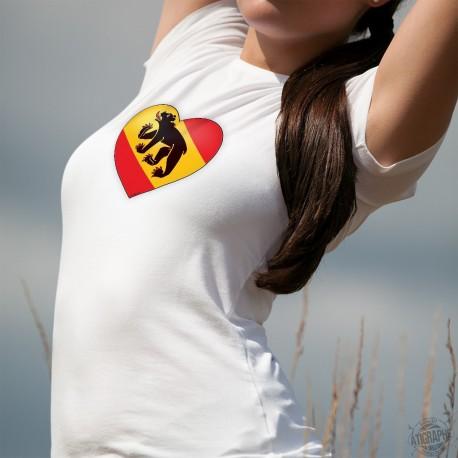 T-Shirt mode dame - Coeur bernois - drapeau du canton de Berne