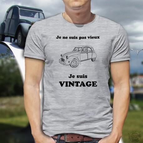 T-Shirt humoristique homme - Vintage Citroën Deuche (2CV), Je ne suis pas vieux, je suis vintage