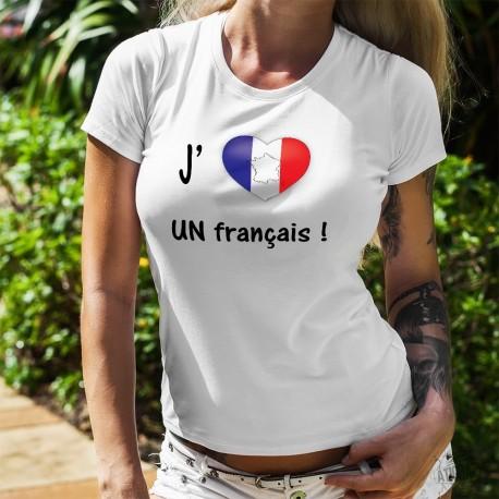 T-shirt mode dame - J'aime UN français - coeur français - Bleu-Blanc-Rouge
