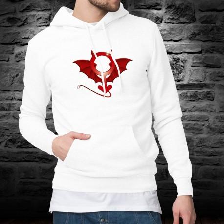 Pull humoristique blanc à capuche mode homme - Devil Man - symbole démoniaque de l'homme, de la masculinité