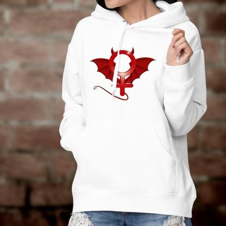 Felpa bianco con cappuccio - donna diabolica - simbolo diabolico della femminilità