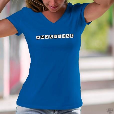T-shirt mode coton Dame - Amoureuse en lettre de scrabble - lorsque l'on a des papillons dans le ventre