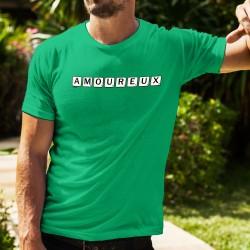 T-shirt coton mode homme - Amoureux - merveilleuse sensation écrite avec les lettres du jeu de scrabble