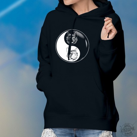 Pull à capuche coton mode dame - Yin-Yang - tête de chat tatouage tribal