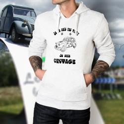 """Pull blanc à capuche homme - Vintage Hippie Deuche - Deux Chevaux Citroën, fleurs, """"Je ne suis pas vieux, je suis vintage"""""""