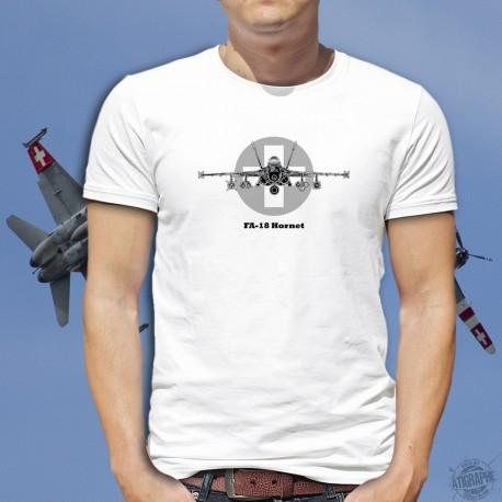 Men Fighter Aircraft T-shirt - Swiss FA-18 Hornet - McDonnell Douglas - Swiss Air Force