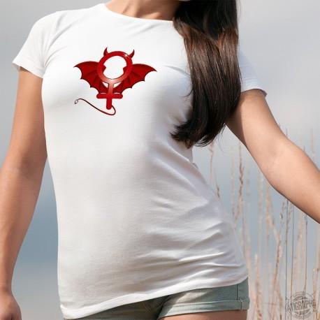 T-shirt humoristique mode dame - Diaboliquement féminine - symbole diabolisé de la féminité
