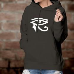 Pull à capuche coton mode dame - L'oeil d'Horus, symbole de protection égyptien, l'oeil Oudjat du Dieu faucon Horus