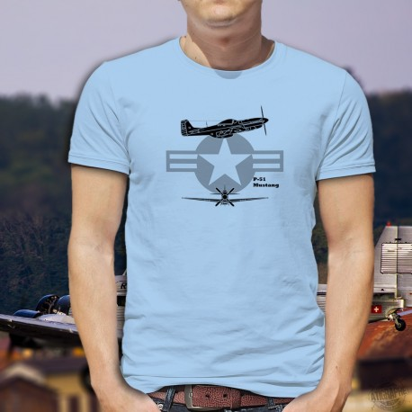 Men's Fighter Aircraft T-shirt - P-51 Mustang - American fighter plane, legend of the Second World War