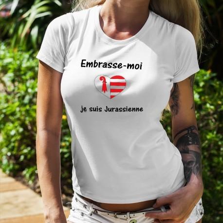 Embrasse-moi je suis Jurassienne ❤ T-Shirt mode dame drapeau du canton du Jura en forme de coeur