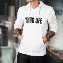 Uomo Felpa bianco a cappuccio - Thug Life (la vita è dura)