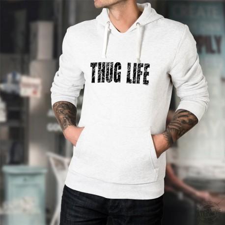 Pull-over blanc à capuche mode homme - Thug Life - La vie est dure - en lettres scratchées