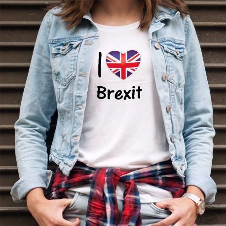 Moda Donna T-shirt - I Love Brexit - Cuore Britannico (Union Jack) - Io amo Brexit