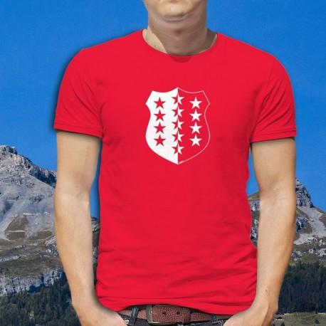 T-shirt coton mode homme - Blason valaisan - armoiries du canton du Valais (Treize étoiles sur un champ blanc et rouge)