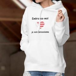 Pull à capuche mode dame - Embrasse-moi je suis Jurassienne, drapeau jurassien en forme de coeur
