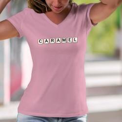 T-shirt coton mode dame - Caramel - Lettres de scrabble, douce et généreuse comme un caramel mou