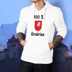 100 pourcent Gruérien ★ Pull blanc à capuche homme écusson district de la Gruyère avec une grue sur fond rouge, les armoiries
