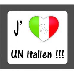 Sticker - J'aime un italien - pour voiture