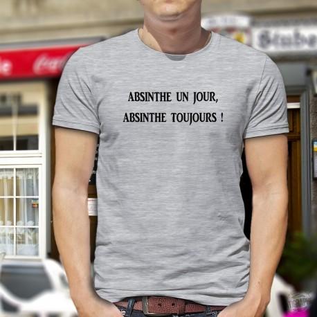"""Absinthe un jour, Absinthe toujours ★ T-Shirt humoristique homme en l'honneur de la Fée Verte appelée aussi """"La Bleue"""""""